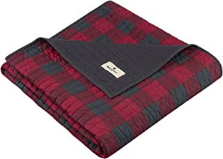 Woolrich Woolrich Check Luxury Quilted Throw Red 50x70 Plaid Premium Soft Cozy 100% Cotton For Bed, Couch or Sofa