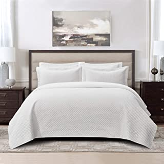 Kingsley trend Vintage Style Diamond Quilted Blanket Coverlet Set Cotton Soft Prewashed - Queen (86