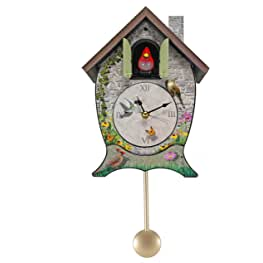 QINFUNI Cuckoo Clock House Wall Clock Chime Alarm Clock Retro Clock Wooden Living Room Clock Vintage Coo Coo Clock for Home Kitchen Bathroom Dacoration AA