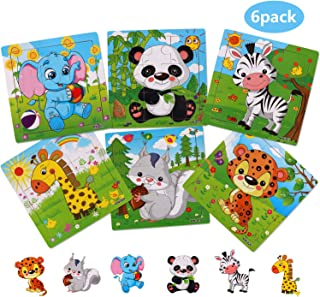 NASHRIO Wooden Puzzles for Toddlers 2-5 Years Old(Set of 6), 9 Pieces Preschool Educational and Learning Animal Jigsaw Puzzle Toy Gift Set for Boys and Girls