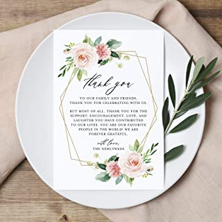 Bliss Collections Wedding Thank You Place Setting Cards, Geometric Blush Floral, Coral & Greenery Watercolor Print to Add to Your Table Centerpieces and Wedding Decorations, Pack of 50 4x6 Cards