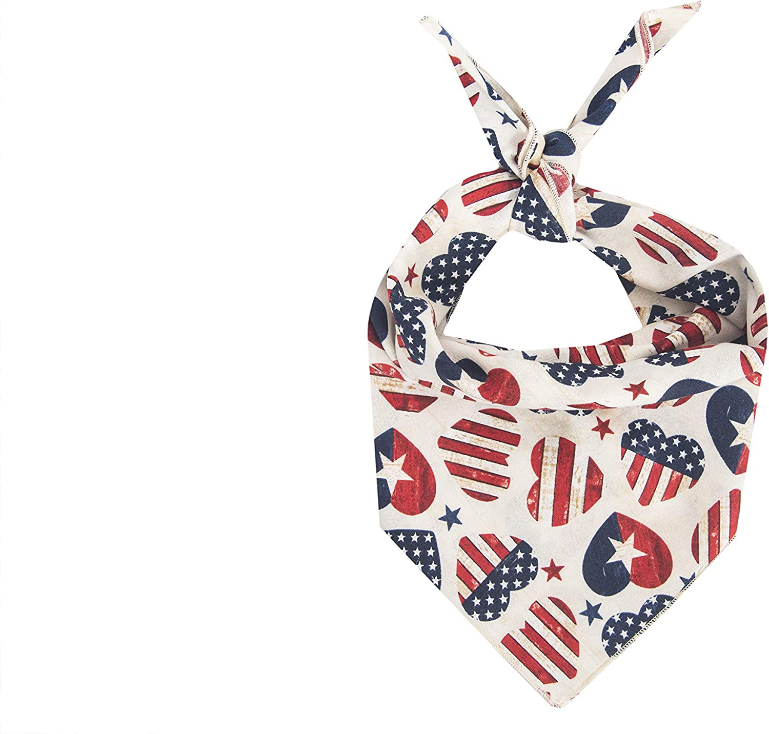 White /& Blue Stars bandana  scarf for Dogs Red