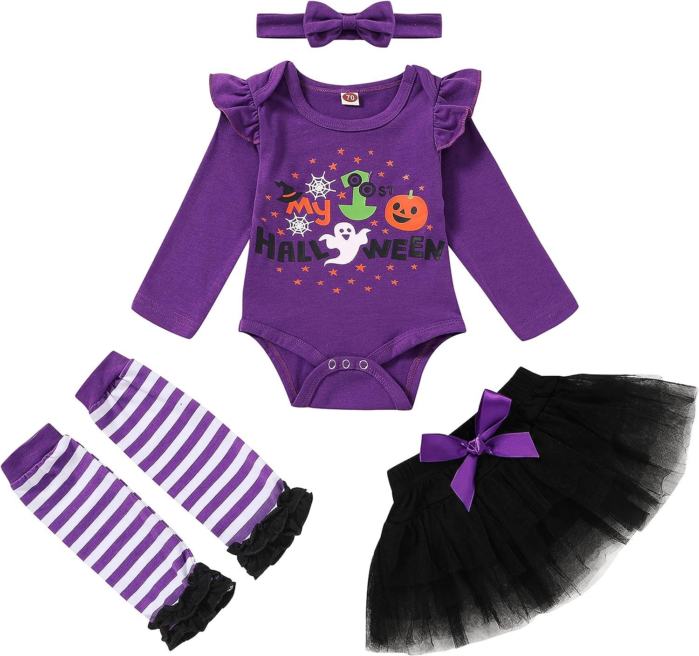 4PCS Baby Girl Halloween Skirt Set Long Sleeves Letter Pumpkin Romper+Bow Tutu Dress+Headband+Leg Warmers Outfit suits