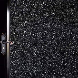 Tubin 窓用フィルム めかくしシート 窓 目隠しシート UVカット 断熱 遮光 結露防止 水で接着 貼り直し可能 (スリガラス(ブラック〉, 90*200cm)
