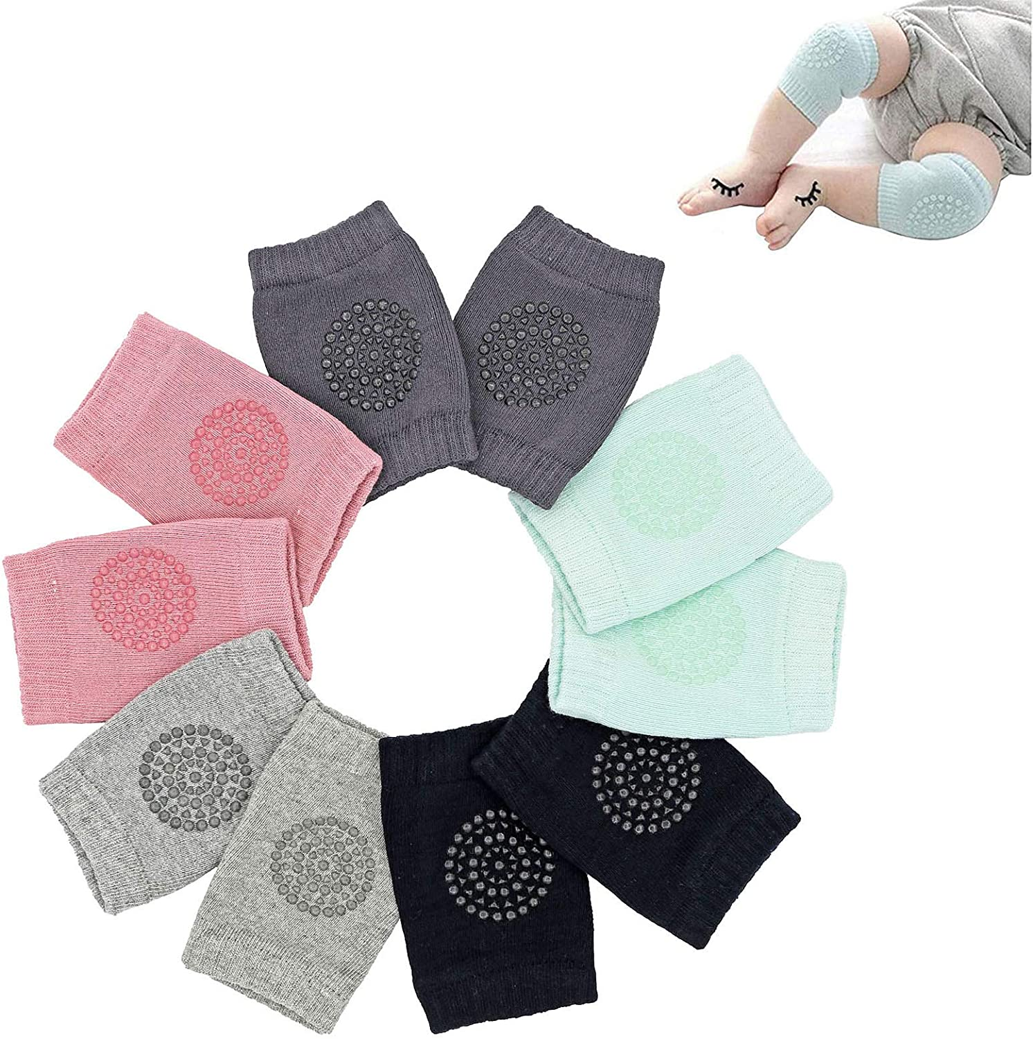 Baby Knee Pads - Crawling Knee Pads for Baby Infant Toddler by Hidetex (5 Pairs)