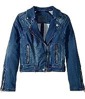 Denim Moto Jacket with Zipper Detail (Big Kids)