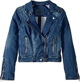 Denim Moto Jacket with Zipper Detail (Big Kids)