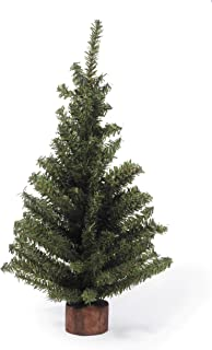 Darice Mini Canadian Pine Tree with Wood Base (1pc), Green – Spread Holiday Décor Around Your Home – Artificial Tree Has 124 Tips and Works Great with Mini Ornaments and Lights, 18""