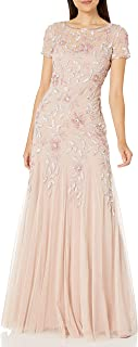 Women's Floral Beaded Godet Gown Dress