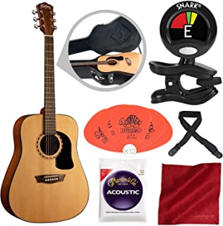 Washburn Apprentice 5 Series AD5K Dreadnought Acoustic Guitar with Guitar Strings, Clip-On Tuner, and Accessory Bundle