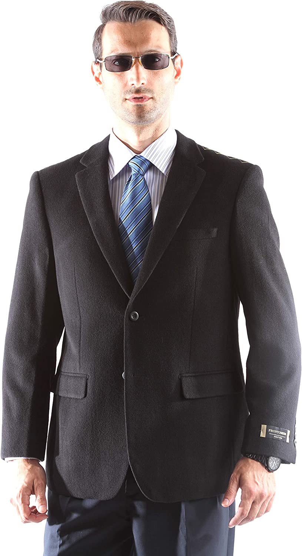 Prontomoda Men's 2 Button Luxury Wool Cashmere Black Sport Coat 40L