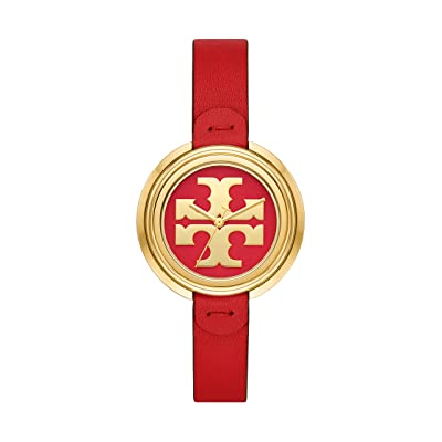 Tory Burch Miller Leather Watch (Red) Watches