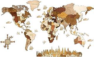 Mapa del mundo de madera, decoración de pared – multicapa, madera teñida multicolor, nombres grabados – Efecto 3D único – ...