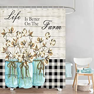 Farmhouse Rustic Shower Curtain, Buffalo Check Cotton Flower Bathroom Curtain with Hooks, Life is Better in The Farm Polye...