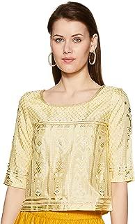 W for Woman Women's Rayon straight Salwar Suit Set (19FEWS12344-112538_ Yellow_ 6)