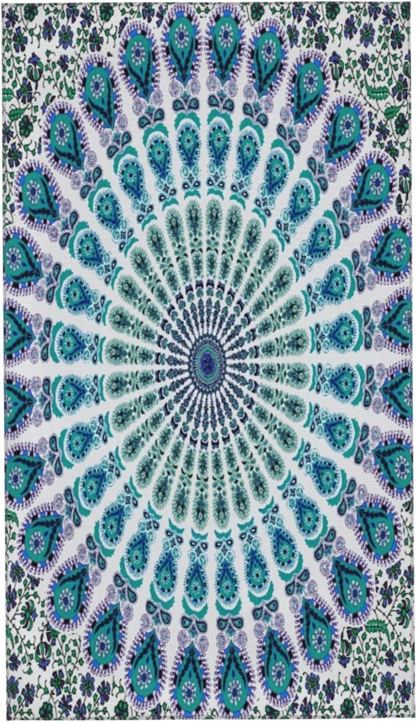 LAKUERVI Max 41% OFF Microfiber Hand Towel for Mandala Blue Ranking integrated 1st place Bathroom Indian