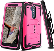 Innens Compatible with ZTE Blade Max 3 Case, ZTE Z986 Case, Hybrid Heavy Duty Anti-Scratch Shockproof Protective Case with Kickstand Belt Clip Compatible with ZTE MAX XL / ZTE N9560 (Rose Red)