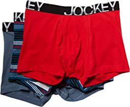 Jockey Cotton Low Rise Stretch No Ride Boxer Brief 3-Pack
