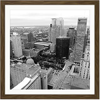 Montreal Canada City Buildings Photo Square Wooden Framed Wall Art Print Picture 16X16 Inch カナダシティ写真木材壁画像