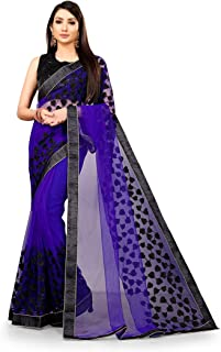 Neerav Exports Embroidery Net Work Saree (Royal Blue)