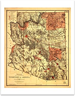 State Of Arizona Vintage Map Circa 1887-11 x 14 Unframed Print - Great Housewarming Gift for the Arizonan in Your Life
