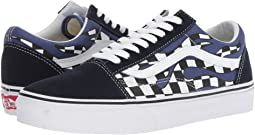 (Checker Flame) Navy/True White