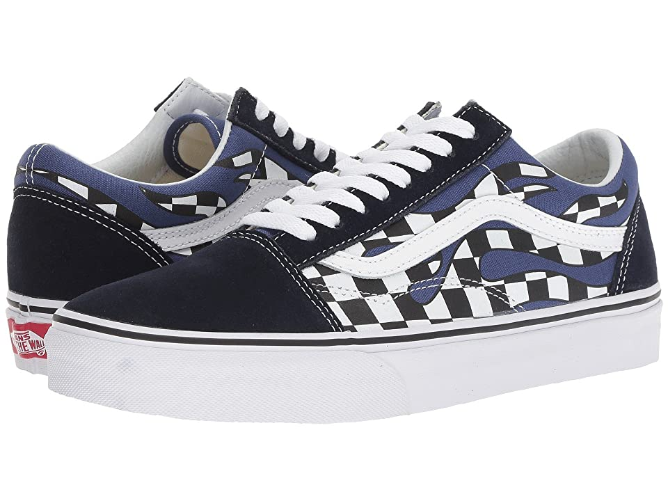 Vans Old Skooltm ((Checker Flame) Navy/True White) Skate Shoes, Multi