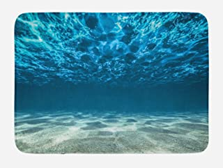 Lunarable Ocean Bath Mat, Gravelly Bottom Wavy Surface Tropical Seascape Abyss Underwater Sunny Day Image, Plush Bathroom Decor Mat with Non Slip Backing, 29.5