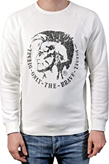 Diesel S-Orestes-New Men's Sweatshirt with Appliqué White