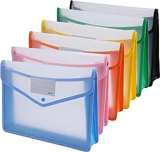 Ipow 6PCS Pochette Plastique A4 à Bouton Pression Polypropylène Porte-document Extensible Fichier Document Chemise Mettre ...