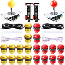 Easyget New Updated 2-Player LED DIY Arcade Kit 2X Zero Delay USB Encoder + 2X Joystick + 20x LED Arcade Buttons for PC, Windows, MAME, Raspberry Pi Arcade DIY (2-Player, Red/Yellow Kit)