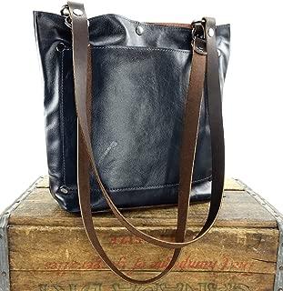 Navy Blue Leather Shoulder Tote Bag Purse