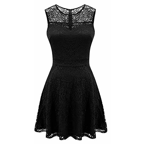 35128becf1f Sylvestidoso Women s A-Line Pleated Sleeveless Little Cocktail Party Dress  with Floral Lace