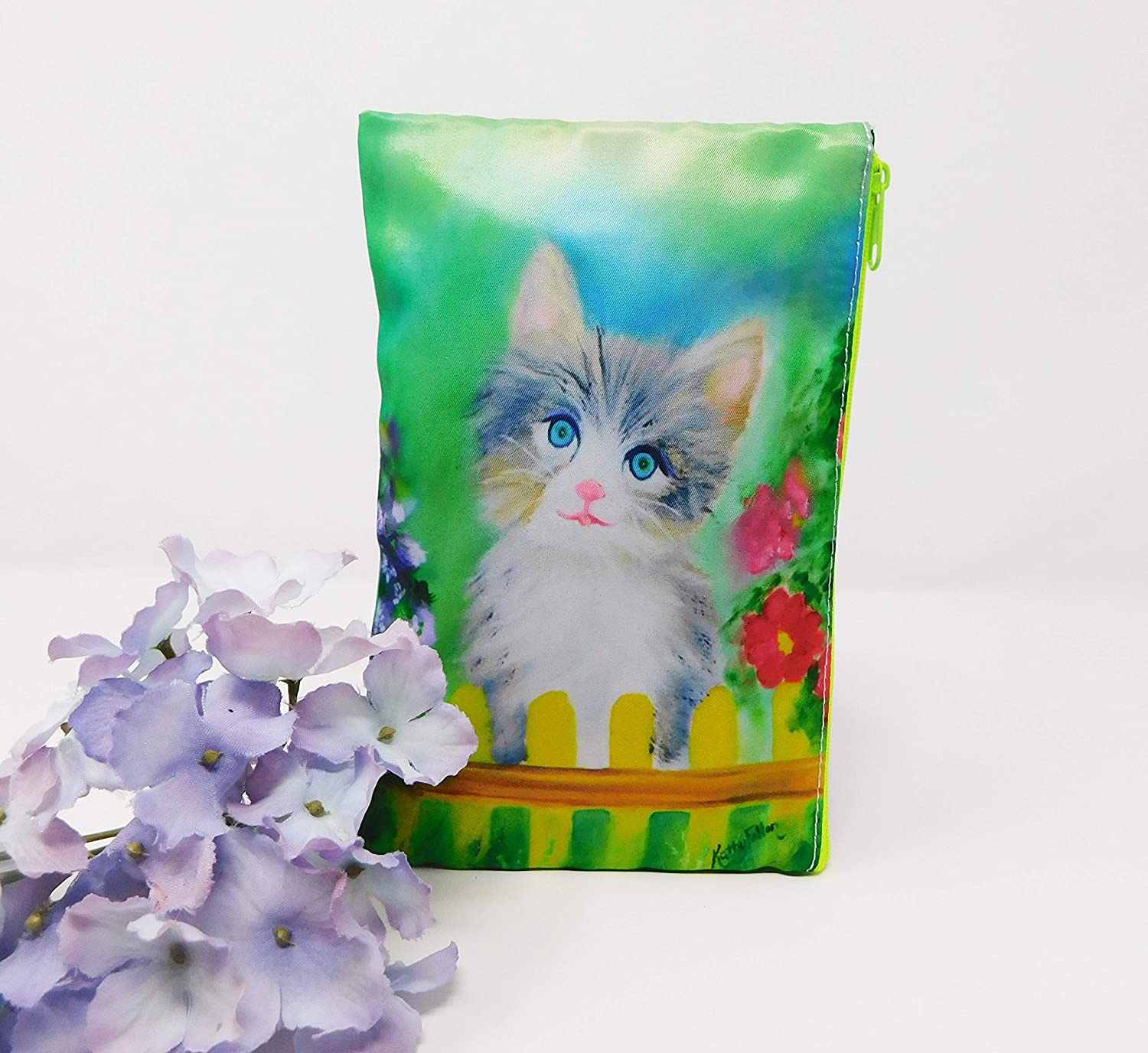 Cosmetic Makeup Bag Zipper Kitten Max 55% OFF Cat Purse Use Flowers Multi Beauty products Or