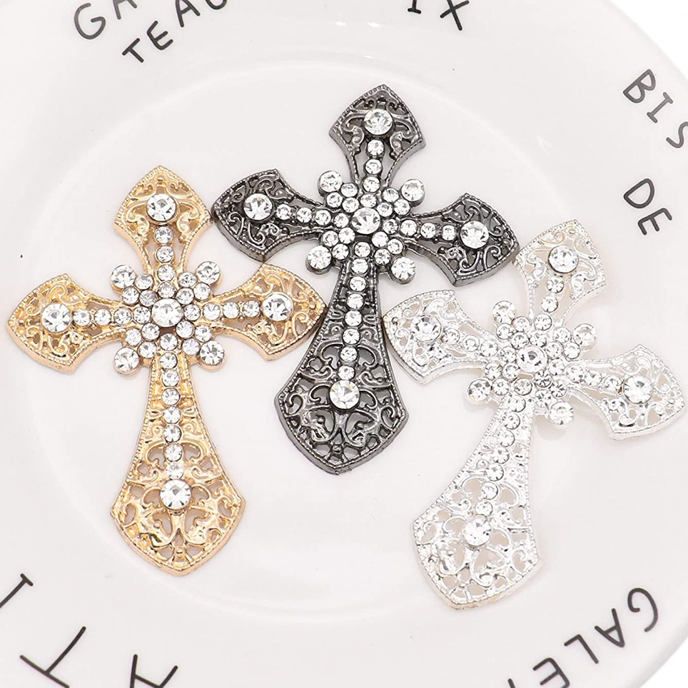 HUELE 6 pcs Rhinestone Cross Applique Patches Sew-On Embroidery Iron On Patches