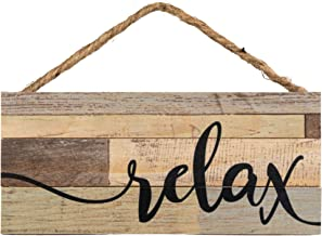 P. Graham Dunn Relax Weathered Look 5 x 10 Wood Plank Design Hanging Sign