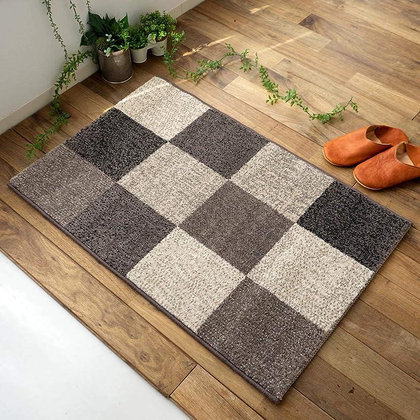 浅い成功した散る屋内 室内 用 玄関 マット フロスティ ブロック グレー 約 50×80 cm パッチワーク 柄 ツイスト パイル ウィルトン織り カーペット ベルギー製