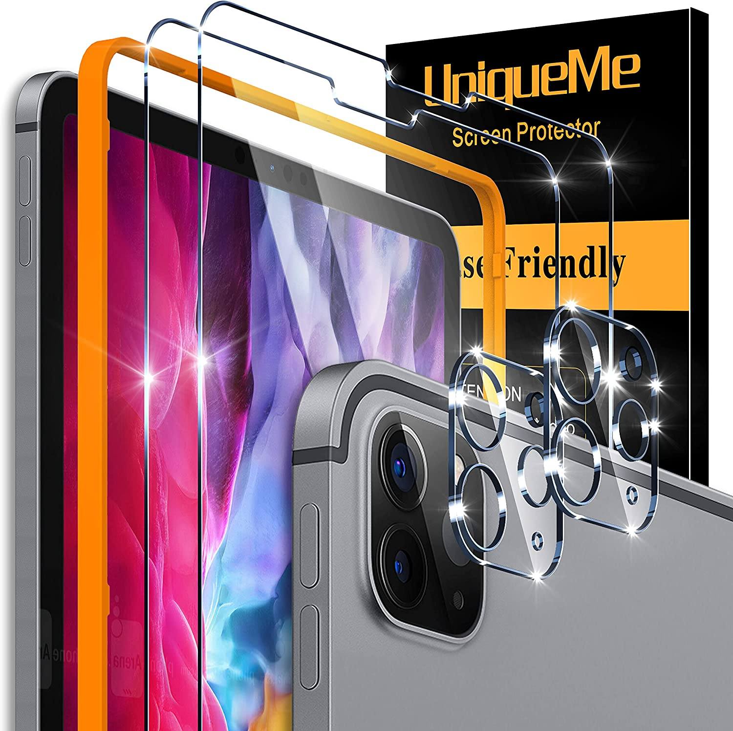 [2+2 Pack] UniqueMe Compatible with iPad Pro 12.9 2020 and 2021 (4th / 5th gen), Tempered Glass Screen Protector and Camera Lens Protector,Compatible with Face ID & Apple Pencil, [Alignment Frame]