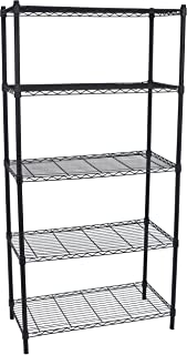 Internet's Best 5-Tier Wire Shelving - Flat Black - Heavy Duty Shelf - Wide Adjustable Rack Unit - Kitchen Storage