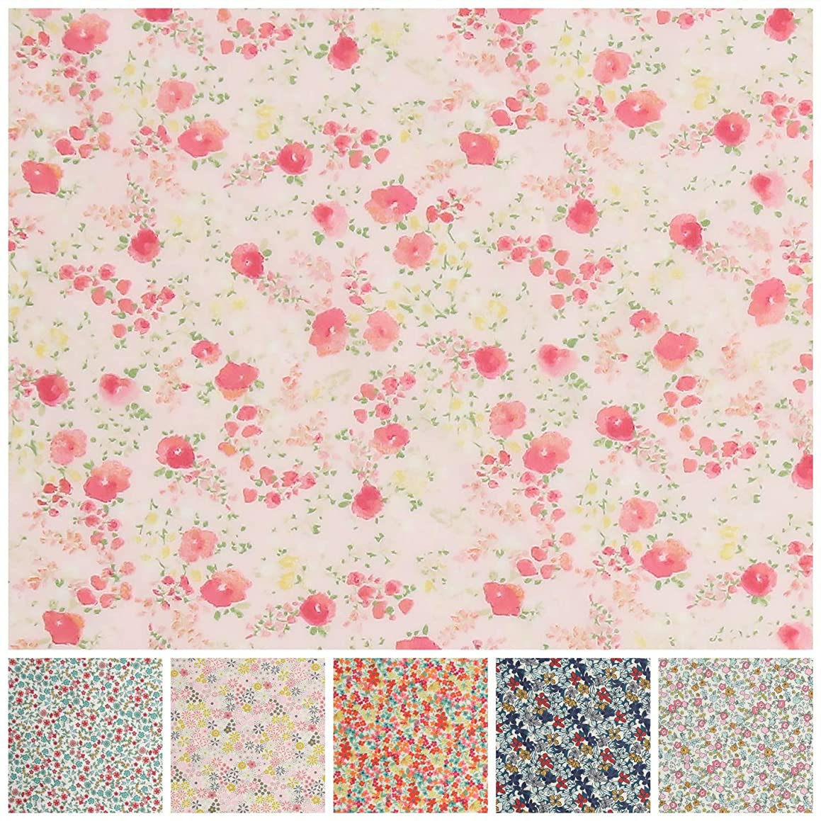 COTTONVILL RevLawn Cotton Lawn Flowers Fabric 2yd, Fiona Pink