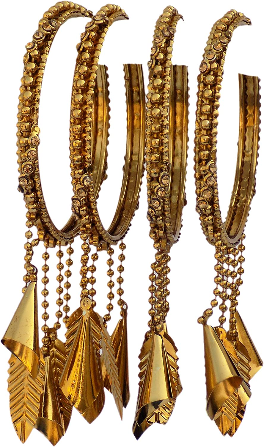 JD'Z Collection Indian Bangles Set Jewelry Latkan Bangle Bracelet for Womens & Girls, for Wedding,Party Bangles Bridal Kada 4pc