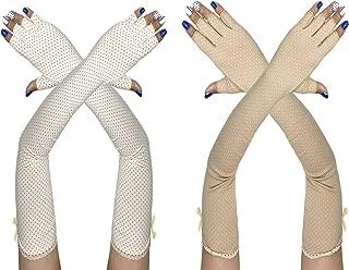 Rusoji 2 Pairs Women's Breathable Anti-UV Sun Block Long Arm Sleeves Fingerless Driving Gloves