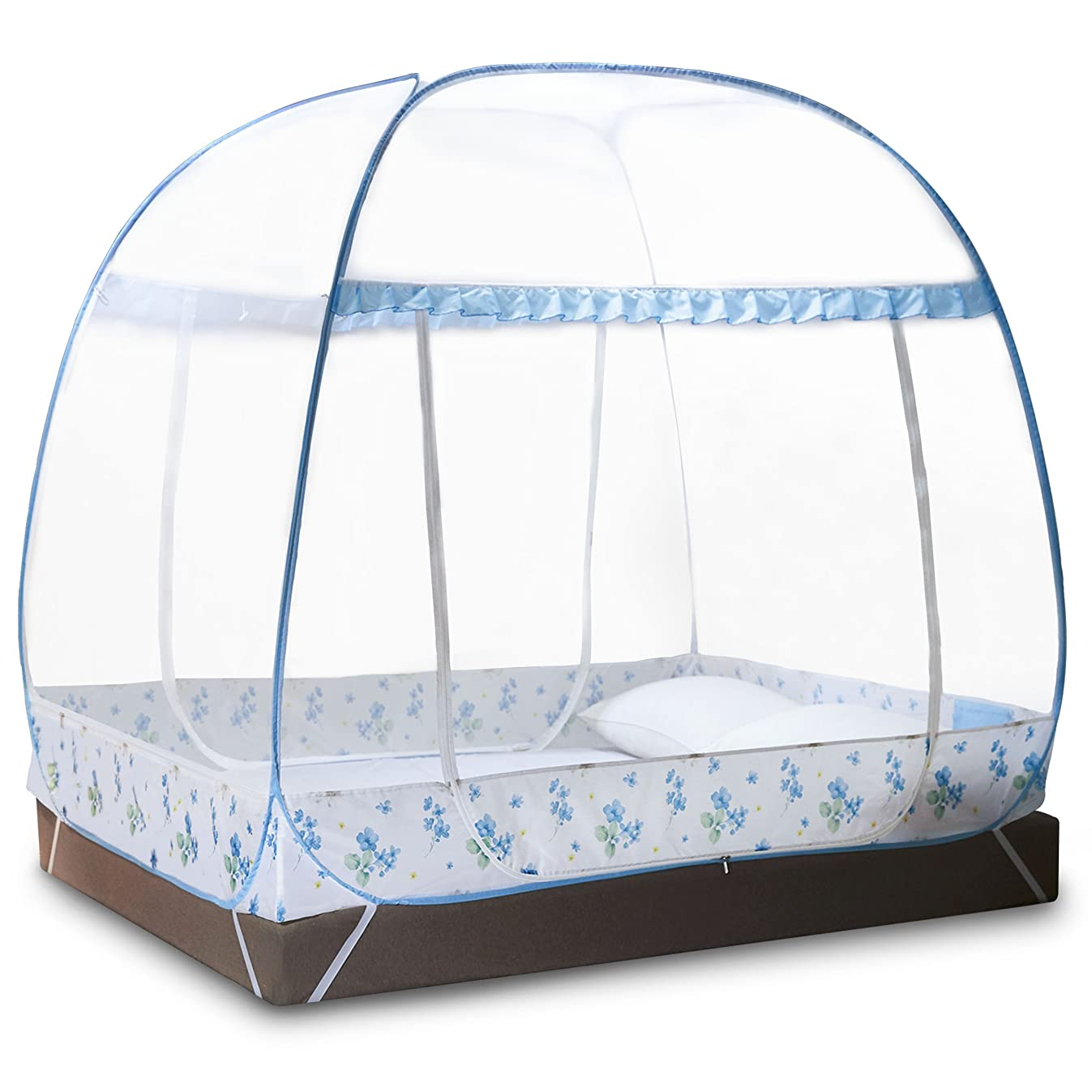 DIMPLES EXCEL Mosquito Net Tent for Double Beds Foldable with full Bottom, 79'' (L) 59.1''(W) 67''(H) (2x1.5x1.45m) (blue)