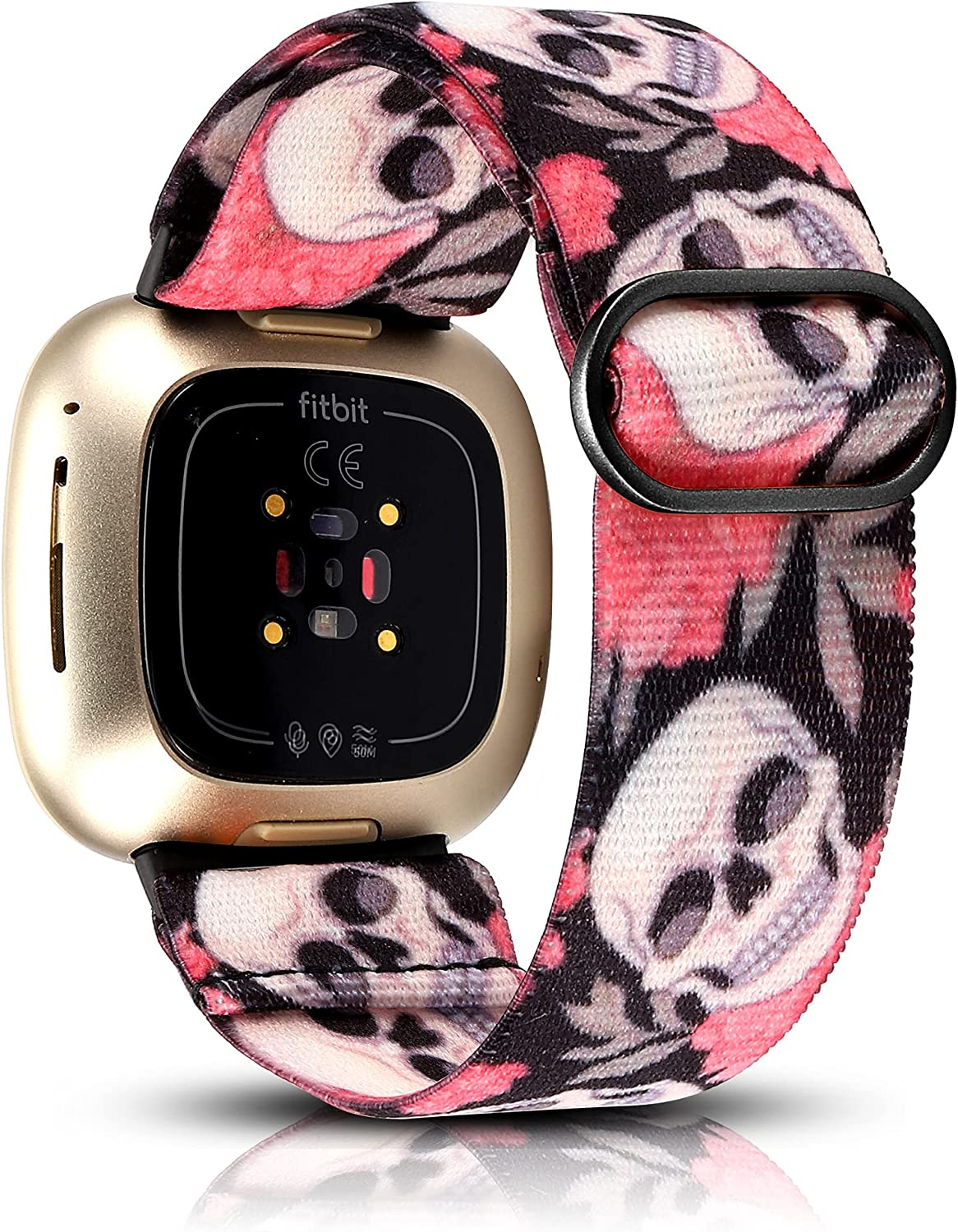 TOYOUTHS Compatible with Fitbit Versa 3 Bands Elastic Replacement for Fitbit Sense Adjustable Nylon Fabric Strap Scrunchies Solo Loop Bracelet Stretchy Wristband Women Men