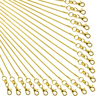 TecUnite 24 Pack Gold Plated DIY Snake Chain Necklace with Clasp for Jewelry Making, 1.2 mm (18 Inches)