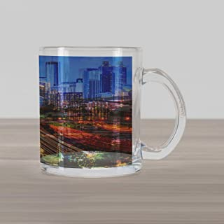 Ambesonne United States Glass Mug, Atlanta Georgia Urban Busy Town with Skyscrapers City Landscape, Printed Clear Glass Coffee Mug Cup for Beverages Water Tea Drinks, Pale Blue Yellow Coral