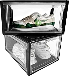 RUSS Shoe Box Set - 2-Pack Clear Plastic Stackable Shoe Boxes - Drop Front Style Organizer Bins Rack with Magnetic Lids - ...