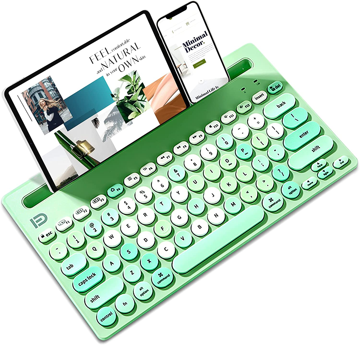 Multi-Device Keyboard, 2.4Ghz USB Channel,2 Bluetooth Channels Switchable, Built-in Stand Slot, Typewriter Style, 79-Key, Compatible with Desktop/PC/Laptop/iPhone/iPad/Android/iOS/Chrome(Mixed Green)