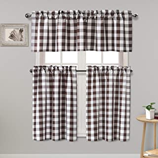 Homedocr Semi Sheer Checkered Kitchen Curtains Light Reducing and Thermal Insulated Tier and Valance Curtains, Coffee, Set of 3 Pieces