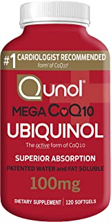 Qunol Mega Ubiquinol CoQ10 100mg, Superior Absorption, Patented Water and Fat Soluble Natural Supplement Form of Coenzyme Q10, Antioxidant for Heart Health, 120 Count (Pack of 1) Softgels